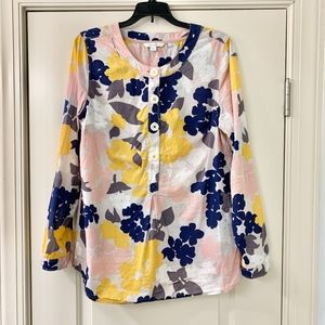 Boden Navy & Yellow Floral Long Sleeve Tunic Sz 10